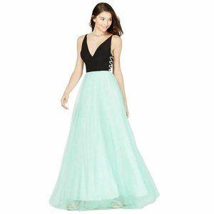Blondie Nites 3 Black Mint Chiffon Gown NWT BX31